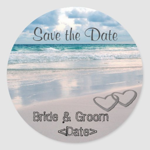 Bride & Groom Names Written in the Sand Stickers