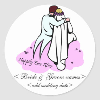Bride Groom On Cloud 9 Happily Ever After Sticker