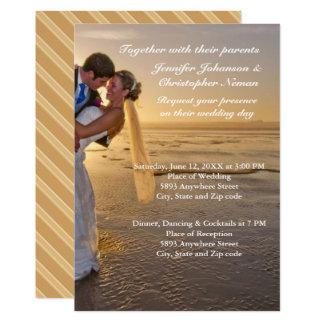 Bride & Groom on Sunset Beach Wedding Invitation