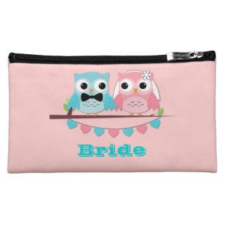 Bride, Groom Owls Cosmetic Bags