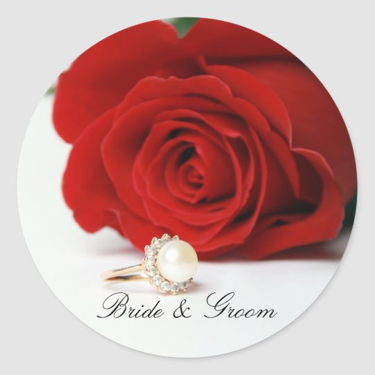 Bride & Groom Round Stickers with red Rose