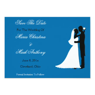 """Bride Groom Save the Date Announcement (blue) 5"""" X 7"""" Invitation Card"""