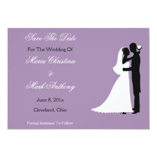 Bride Groom Save the Date Announcement (purple)