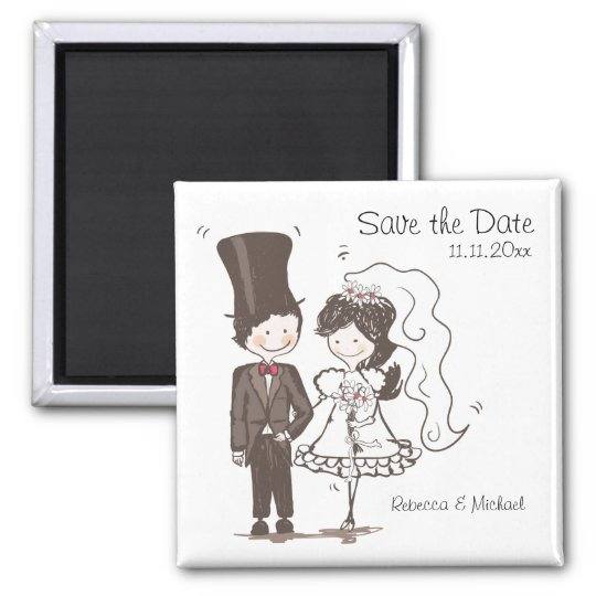Bride & Groom Save the Date Magnets