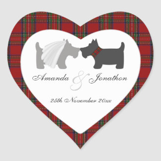 Bride & Groom Scottie Dogs & Tartan Favor Tag