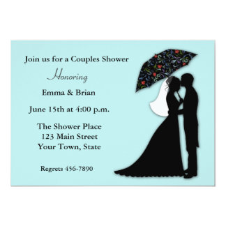 Bride Groom Silhouette Couples Shower Card