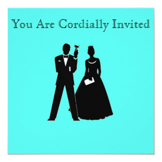 Bride & Groom Silhouettes on Blue 13 Cm X 13 Cm Square Invitation Card