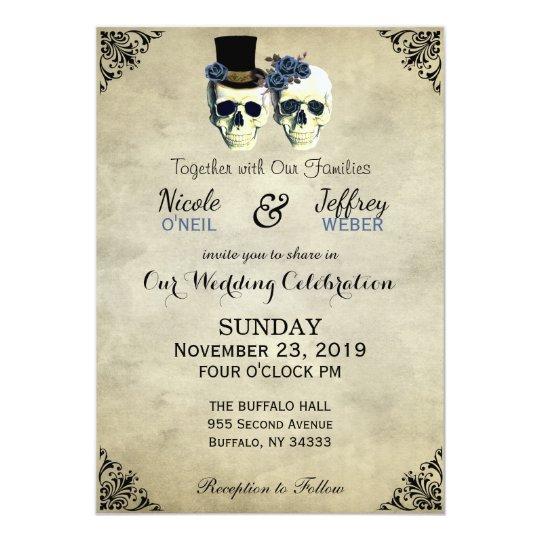 Bride & Groom Skull Goth Rustic Wedding Blue