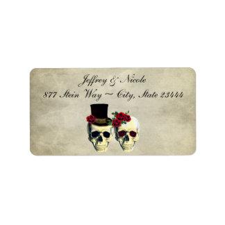 Bride & Groom Skull Wedding Address Label
