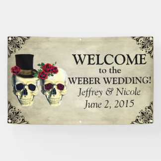 Bride & Groom Skull Wedding Banner