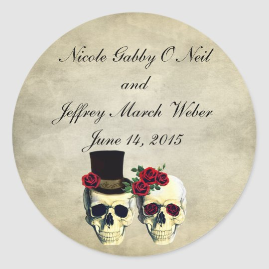 Bride & Groom Skull Wedding Classic Round Sticker