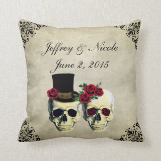 Bride & Groom Skull Wedding Cushion