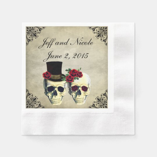 Bride & Groom Skull Wedding Disposable Napkins