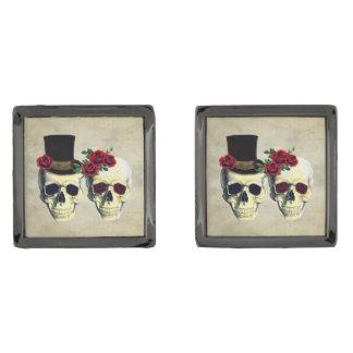 Bride & Groom Skull Wedding Gift for Groom Gunmetal Finish Cufflinks