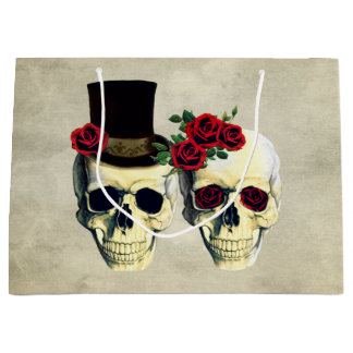 Bride & Groom Skull Wedding Large Gift Bag