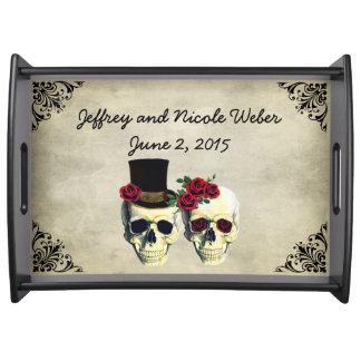 Bride & Groom Skull Wedding Serving Tray