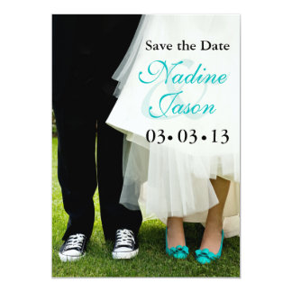 Bride & Groom Sneakers & High Heels Save the Date 13 Cm X 18 Cm Invitation Card