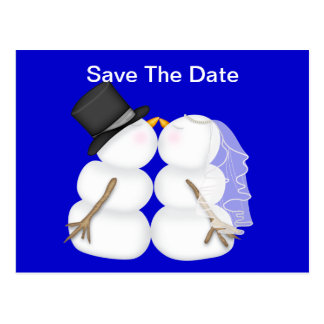BRIDE & GROOM Snowman SAVE THE DATE Post Card