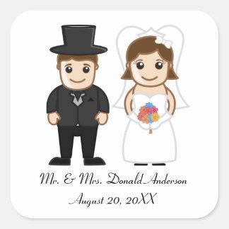 Bride & Groom - Square Sticker