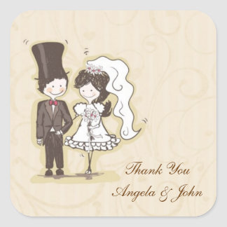 Bride Groom Stick Couple Label