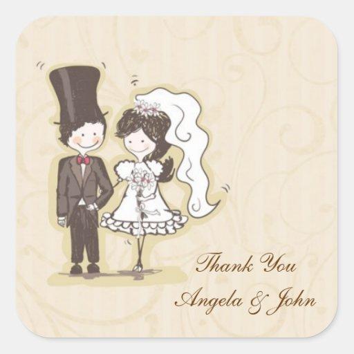 Bride Groom Stick Couple Label Square Stickers