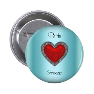 Bride Groom Teal Wedding Button Red Heart Pinback Button