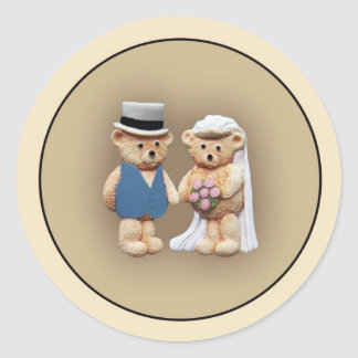 Bride Groom Teddy Bears Round Sticker