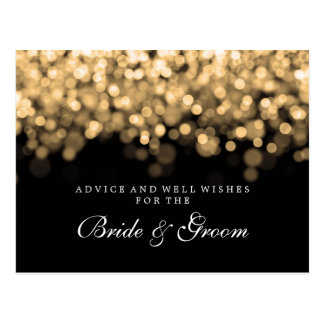 Bride & Groom Wedding Advice Card Gold Lights Postcard