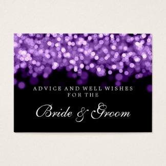 Bride & Groom Wedding Advice Card Purple Lights
