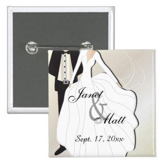 Bride & Groom Wedding   DIY Text 15 Cm Square Badge