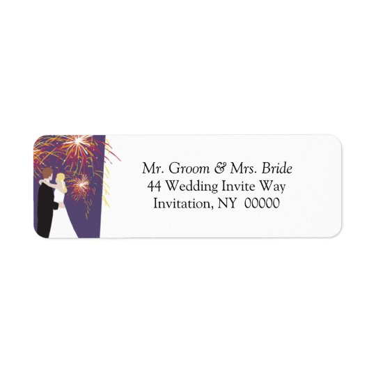 Bride Groom Wedding Fireworks Return Address Label