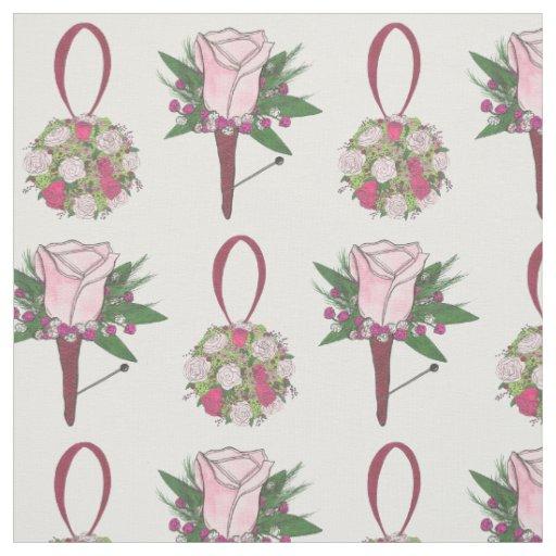 Bride Groom Wedding Flowers Floral Rose Fabric