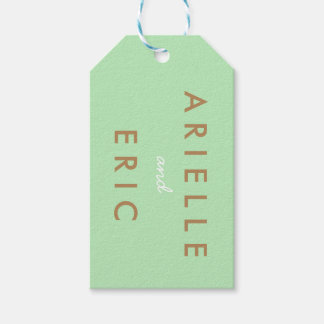 Bride & Groom Wedding Gift Tag Mint Green Brown
