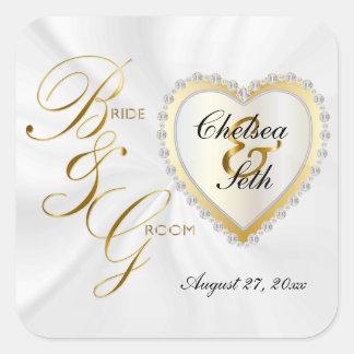 Bride & Groom White Satin | Personalize Square Sticker