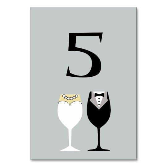 Bride & Groom Wine Glasses Table Number Card
