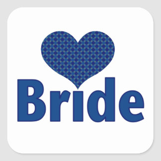 Bride Heart (blue) Square Sticker