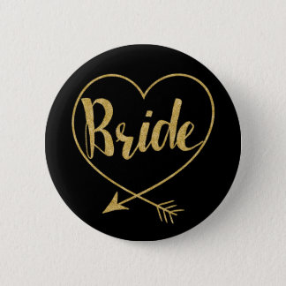 Bride | Heart Golden and Black 6 Cm Round Badge