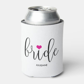 """Bride"" Hot Pink Cute Bridal Party Can Cooler"