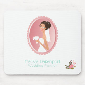 Bride in a White Wedding Dress Holding a Bouquet Mouse Mat