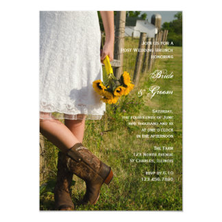 Bride in Cowboy Boots Ranch Post Wedding Brunch Card