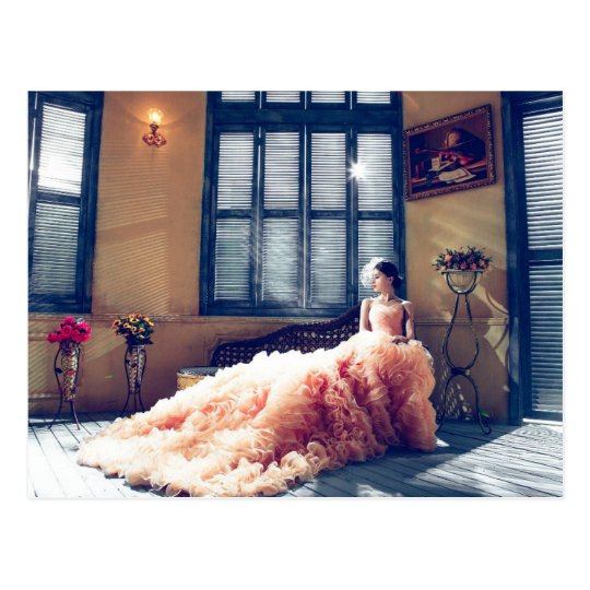 bride in pink dress postcard