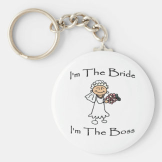 Bride Is Boss Basic Round Button Key Ring