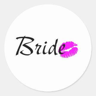 Bride Kiss Round Sticker