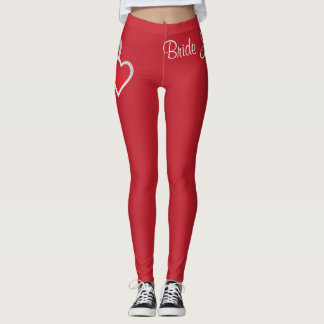 Bride Leggings Wedding Date Hearts