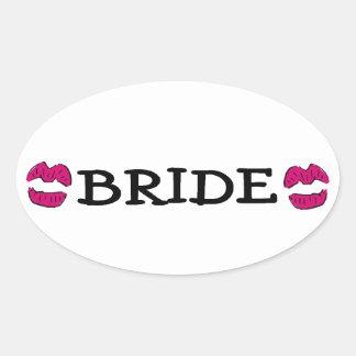 Bride (Lips Kiss) Oval Sticker