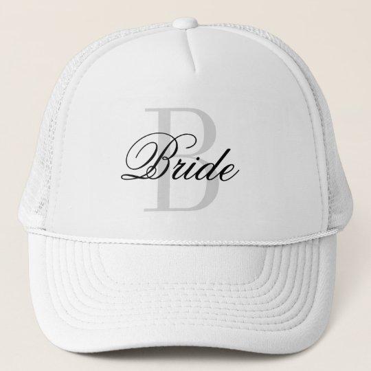 BRIDE monogram trucker hat for wedding party