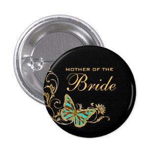 Bride mother bridal wedding black gold 3 cm round badge
