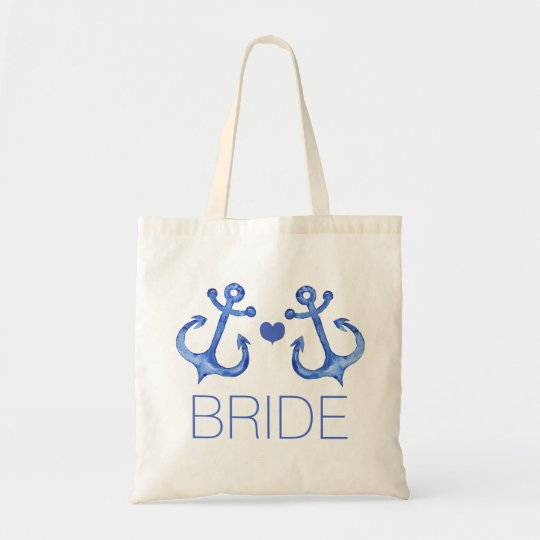 Bride - Nautical Anchors Wedding Party Budget Tote
