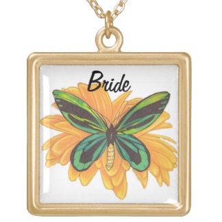 Bride Necklace, Butterfly Daisy Jewelry