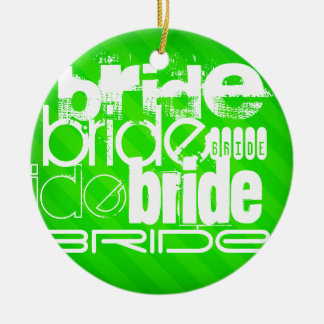 Bride; Neon Green Stripes Round Ceramic Decoration